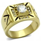 TK723 IP Gold Stainless Steel AAA Grade CZ Round Cut Men's Ring