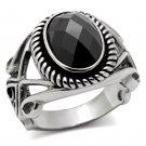 TK322 High polished Stainless Steel AAA Grade CZ Black Diamond Men's Ring
