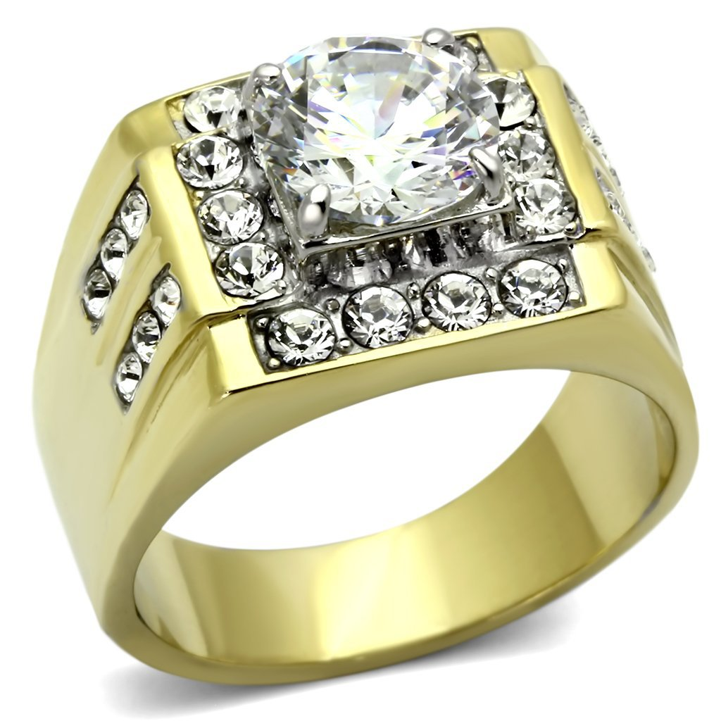 TK760 Two-Tone IP Gold Stainless Steel AAA Grade CZ Round Cut Men's Ring
