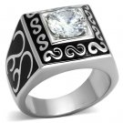 TK1050 High polished Stainless Steel AAA Grade CZ Round Cut Men's Ring