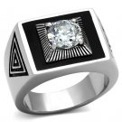 TK1053 High polished Stainless Steel AAA Grade CZ Round Cut Men's Ring