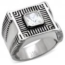 TK123 High polished Stainless Steel AAA Grade CZ Square Cut Men's Rings