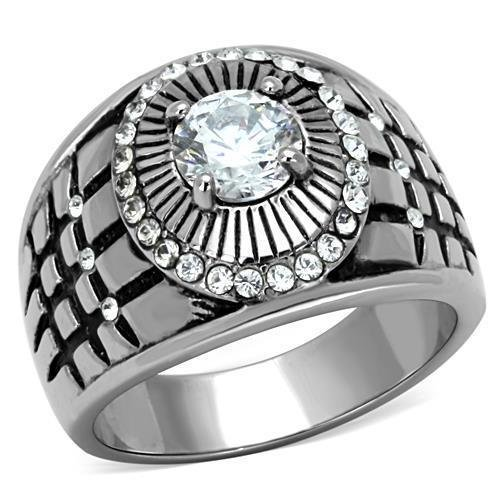 TK1614 High polished Stainless Steel AAA Grade CZ Round Cut Men's Ring