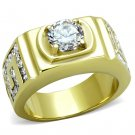 TK2045 IP Gold Stainless Steel AAA Grade CZ Round Cut Men's Ring