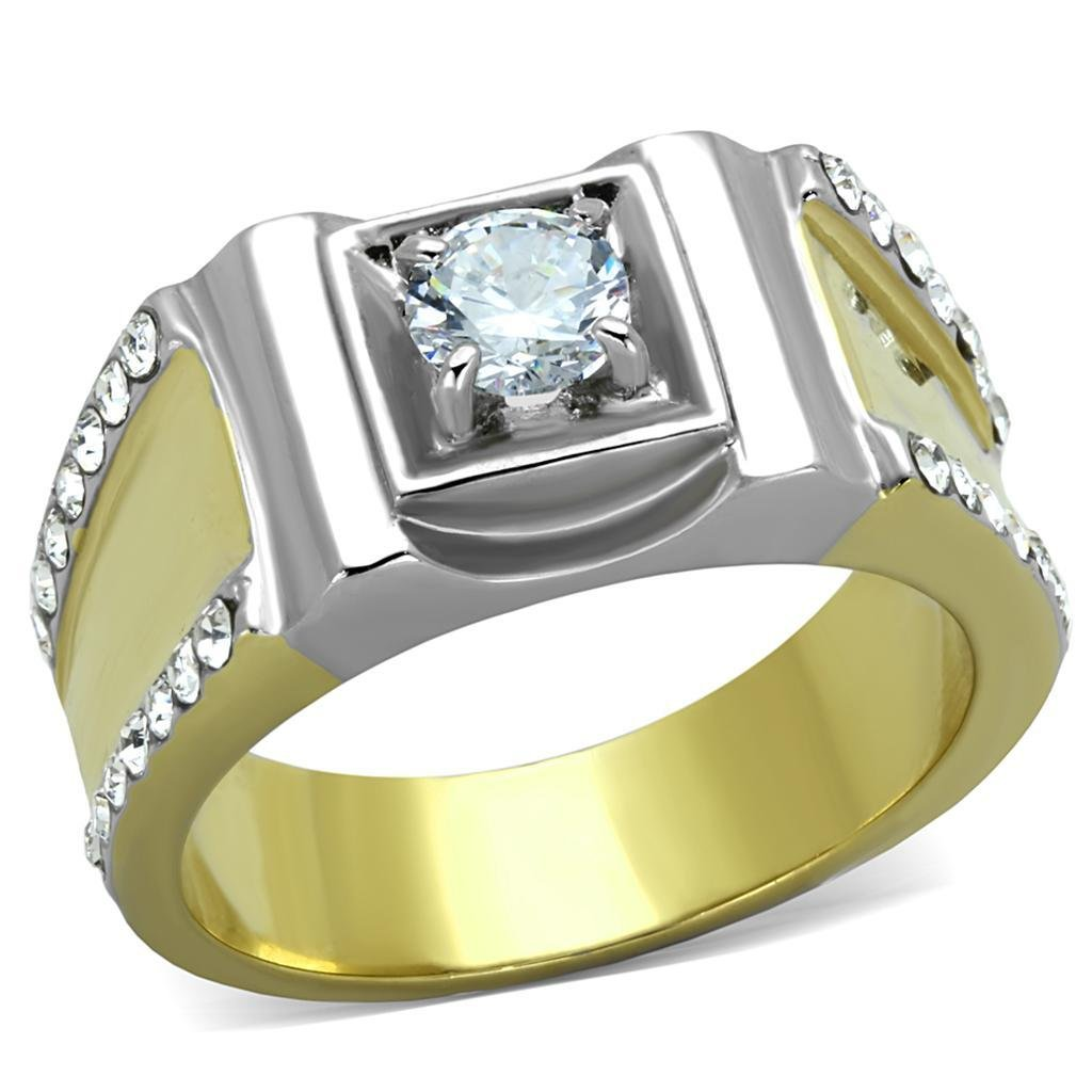 TK2049 Two-Tone IP Gold Stainless Steel Ring Grade CZ Round Cut Men's Ring