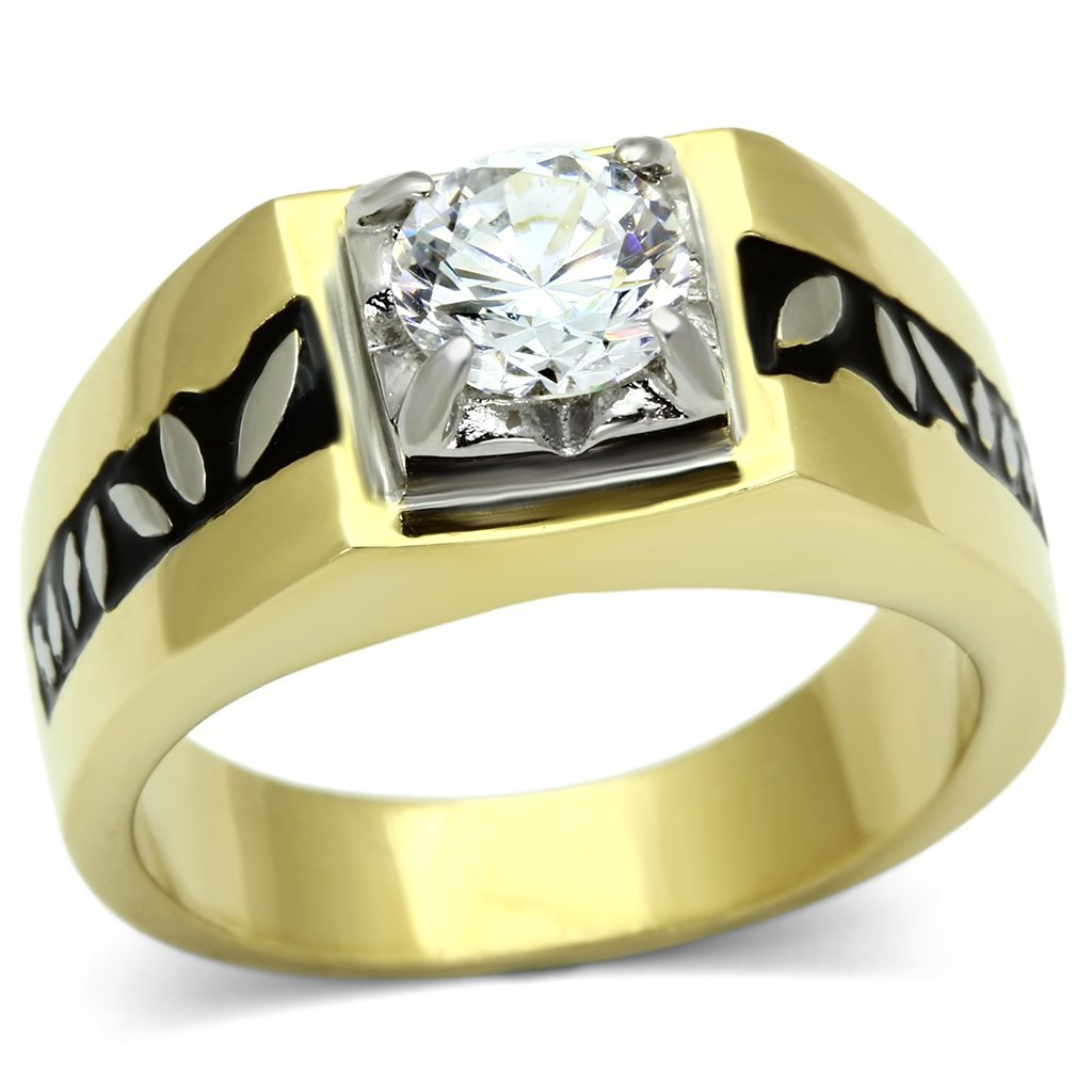 TK739 Two-Tone IP Gold Stainless Steel AAA Grade Round Cut CZ Men's Ring