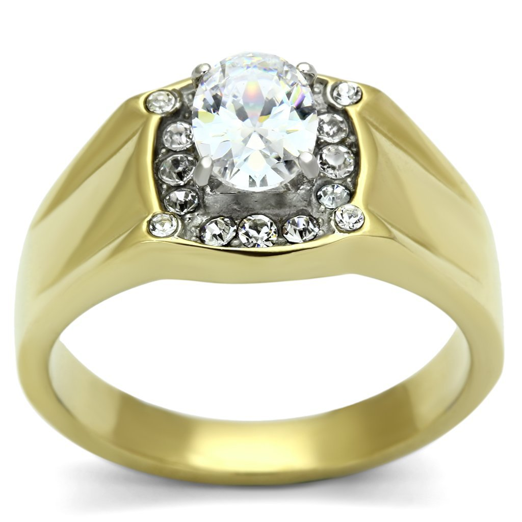 TK758 Two-Tone IP Gold Stainless Steel AAA Grade Round Cut CZ Men's Ring in Clear