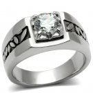 TK356 High polished Stainless Steel AAA Grade Round Cut CZ Men's Ring