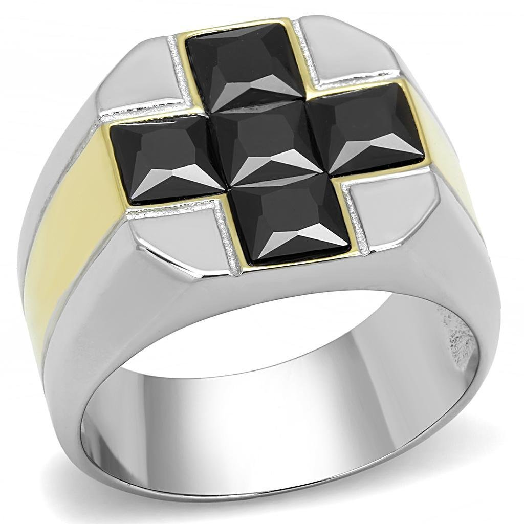 TK3271 Two-Tone IP Gold Stainless Steel AAA Grade CZ Men's Cross Ring