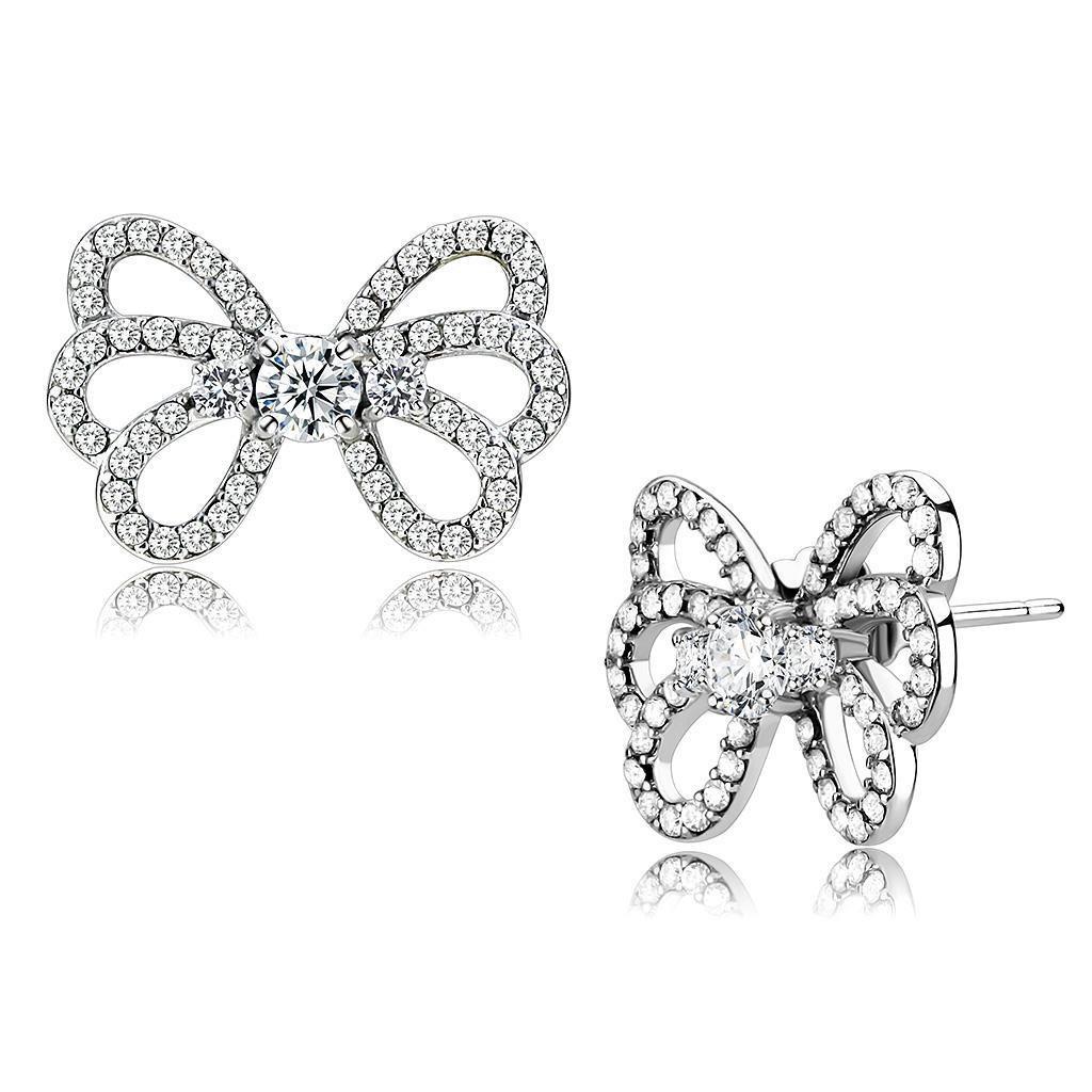 DA067 High polished Stainless Steel AAA Grade Round Cut Women Earrings CZ