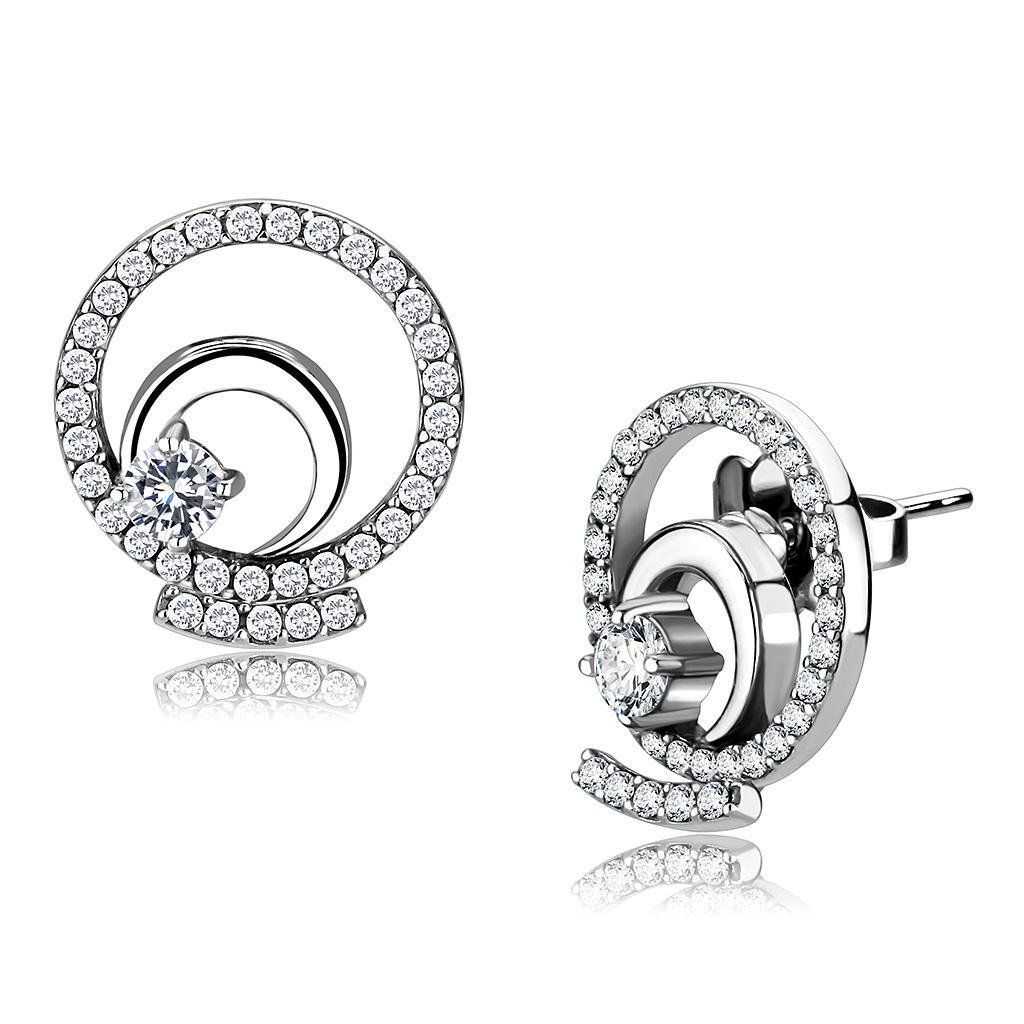 DA069 - High polished Stainless Steel AAA Grade Round Cut Earrings CZ in Clear