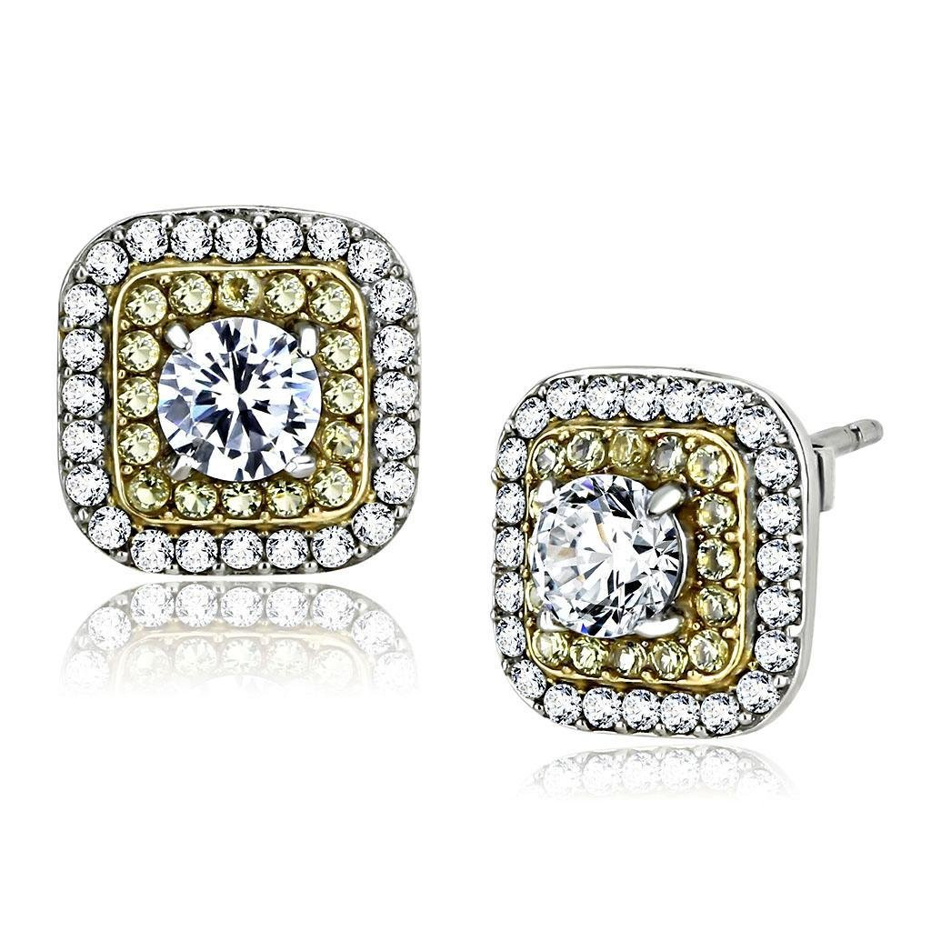 DA220 Two-Tone IP Gold Stainless Steel AAA Grade Round Cut CZ Earrings
