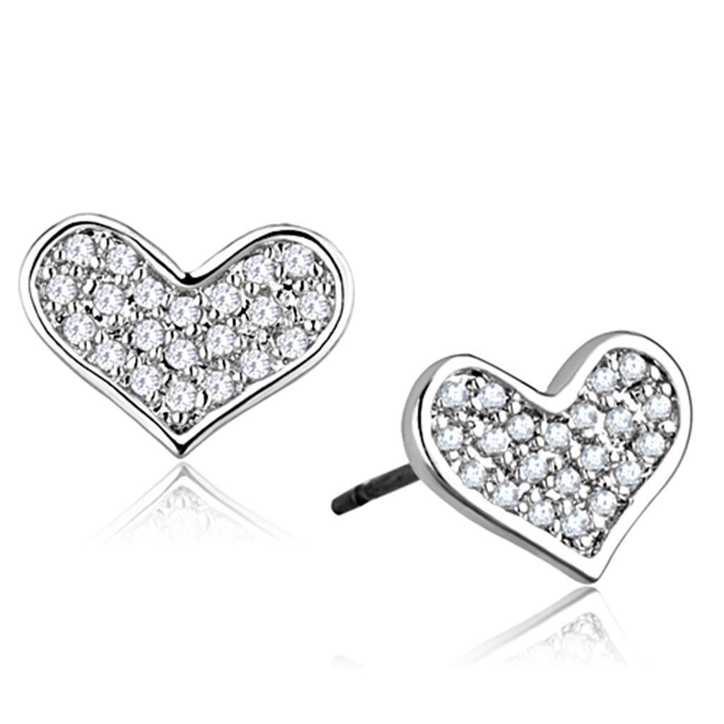 3W645 Rhodium Earrings AAA Grade CZ Heart Stud Earrings