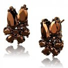 3W1107 IP Coffee light Earrings AAA Grade CZ Light Coffee Stud Earrings