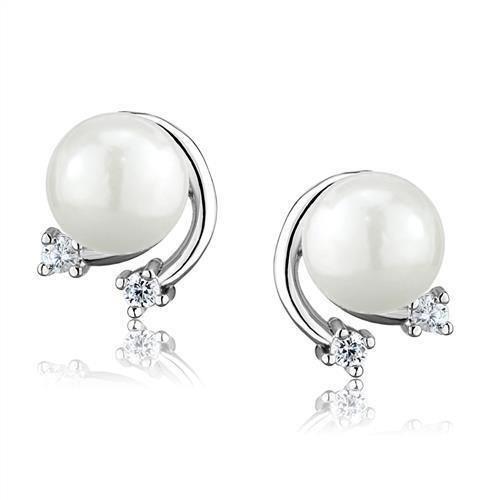 3W1279 Rhodium Brass Earrings Synthetic Pearl White Stud Earrings