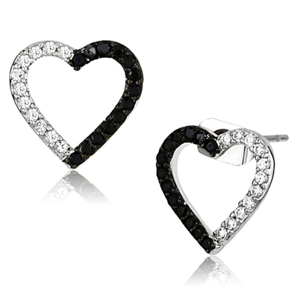 3W381 Rhodium + Ruthenium Brass AAA Grade CZ Jet Black Heart Stud Earrings