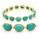 LOS242 Matte Gold 925 Sterling Silver Bangle Semi-Precious Turquoise in Emerald