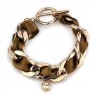 TK3066 IP Rose Gold Stainless Steel Bracelet Top Grade Crystal in Light Peach