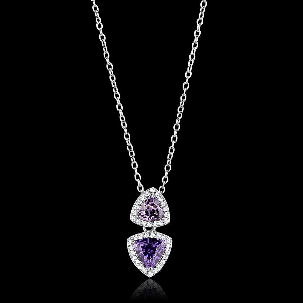 TS607 Rhodium 925 Sterling Silver Chain Pendant with AAA Grade CZ Amethyst