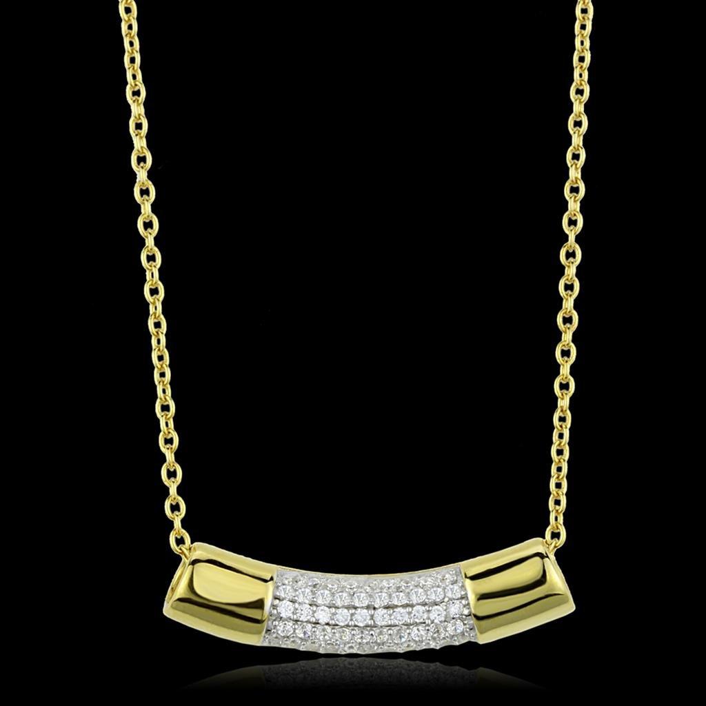 TS452 - Gold+Rhodium 925 Sterling Silver Chain Pendant  AAA Grade CZ