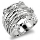 TK1372 High polished Stainless Steel Ring Top Grade Crystal Flower Ring