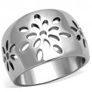 TK1684 High polished Stainless Steel No Stone Flower Ring