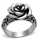TK1217 High polished Stainless Steel Epoxy in Jet Flower Ring