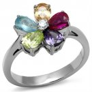 TK2867 High polished Stainless Steel AAA Grade CZ Multi Color Flower Ring