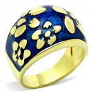 TK1399 IP Gold Stainless Steel Epoxy Capri Blue Flower Ring