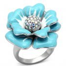 TK817 High polished Stainless Steel Crystal in Aurora Borealis (Rainbow Effect) Flower Ring