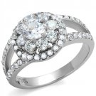 TK1855 High polished Stainless Steel AAA Grade CZ Flower Ring