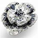 34432 High-Polished 925 Sterling Silver Ring AAA CZ in Jet Ring      Black Flower