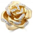 0W250 Matte Gold & Rhodium Brass Ring CZ Flower Ring
