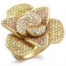 1W091 Matte Gold Brass CZ Multi Color Flower Ring