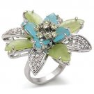 1W094 Rhodium Brass Flower Ring Synthetic Glass Multi Color