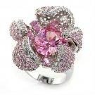 80316 Rhodium Brass Rose Flower CZ Ring