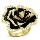 GL021 IP Gold Brass Crystal Flower Ring