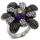TK607 High polished Stainless Steel Flower Ring Synthetic Glass Amethyst