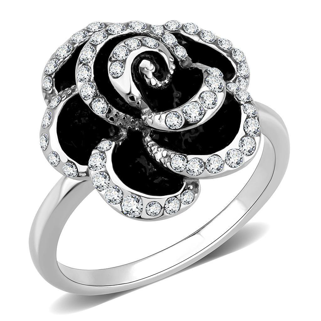 TK3577 Stainless Steel Flower Ring Top Grade Crystal Ring