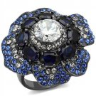 TK2559 IP Light Black Stainless Steel Flower CZ Ring