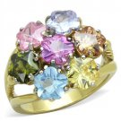 TK1791 Two-Tone IP Gold Stainless Steel Flower Ring Assorted Multi Color Ring