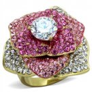 TK1624 IP Gold Stainless Steel Flower Ring AAA Grade CZ Ring