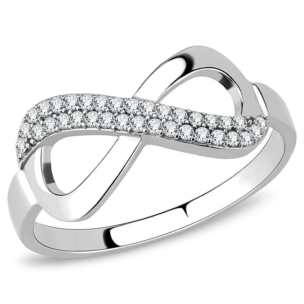 DA054 High polished Stainless Steel Ring AAA CZ Davano Collection