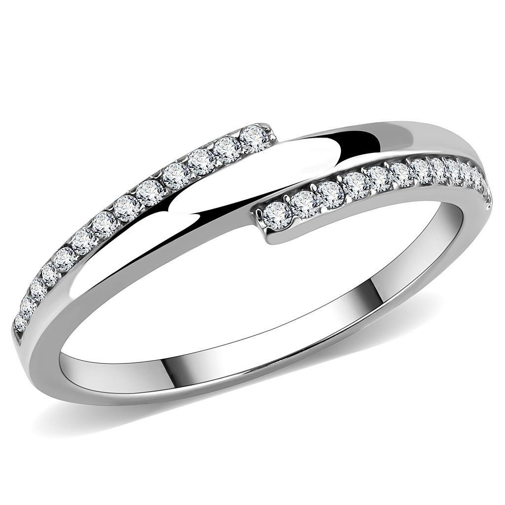 DA234 High polished Stainless Steel Ring CZ Davano Collection