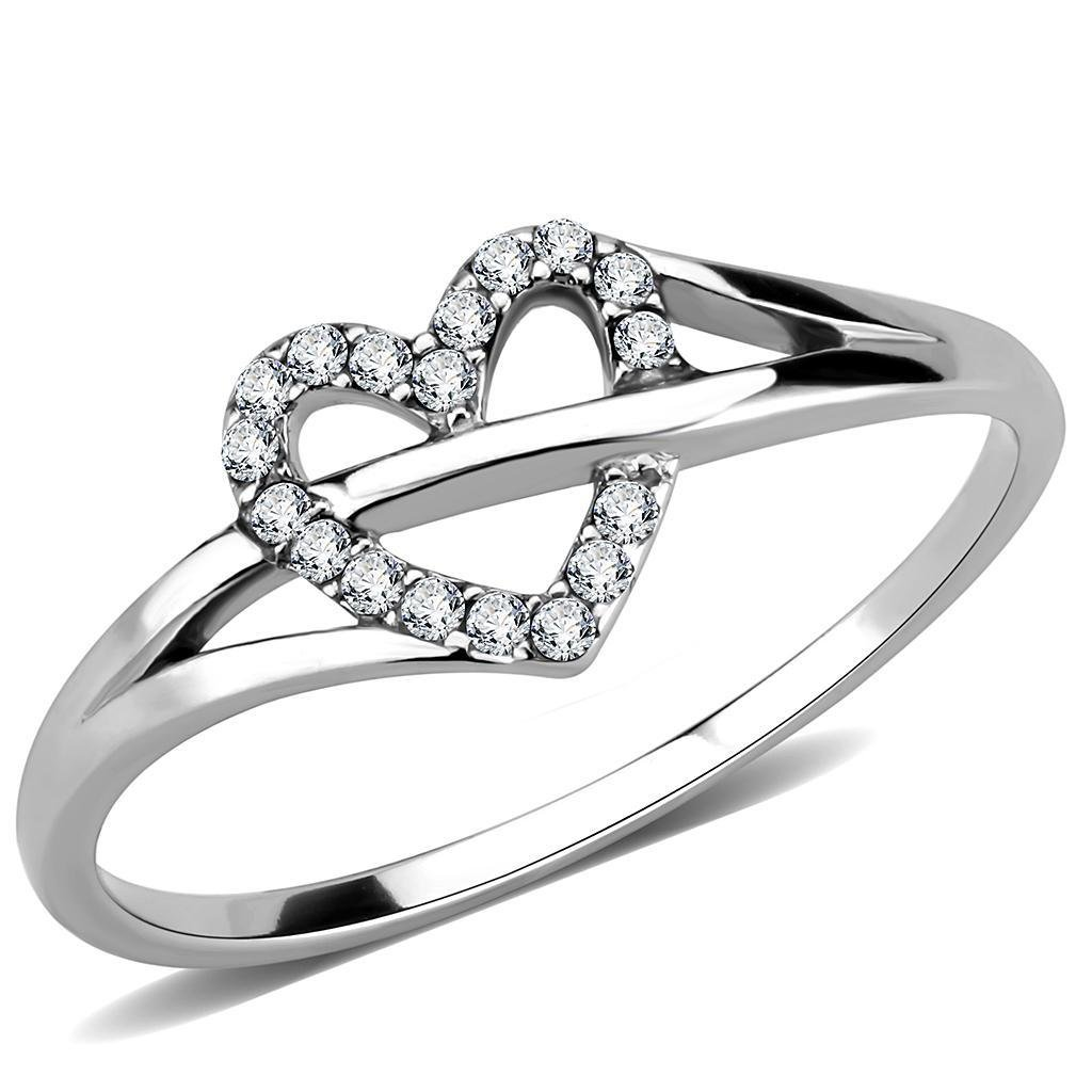 DA259 High polished Stainless Steel Ring AAA Grade CZ Davano Collection