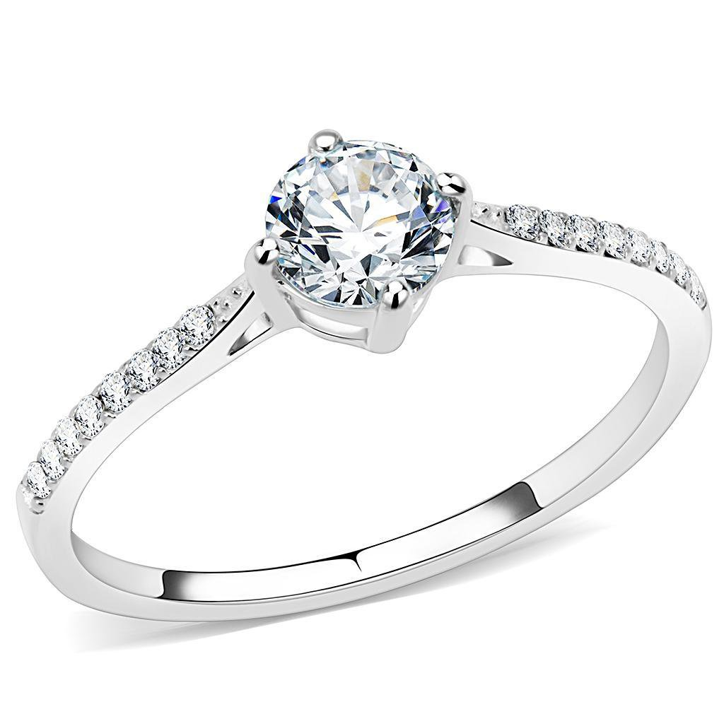DA018 High polished Stainless Steel Ring AAA Grade CZ Davano Collection