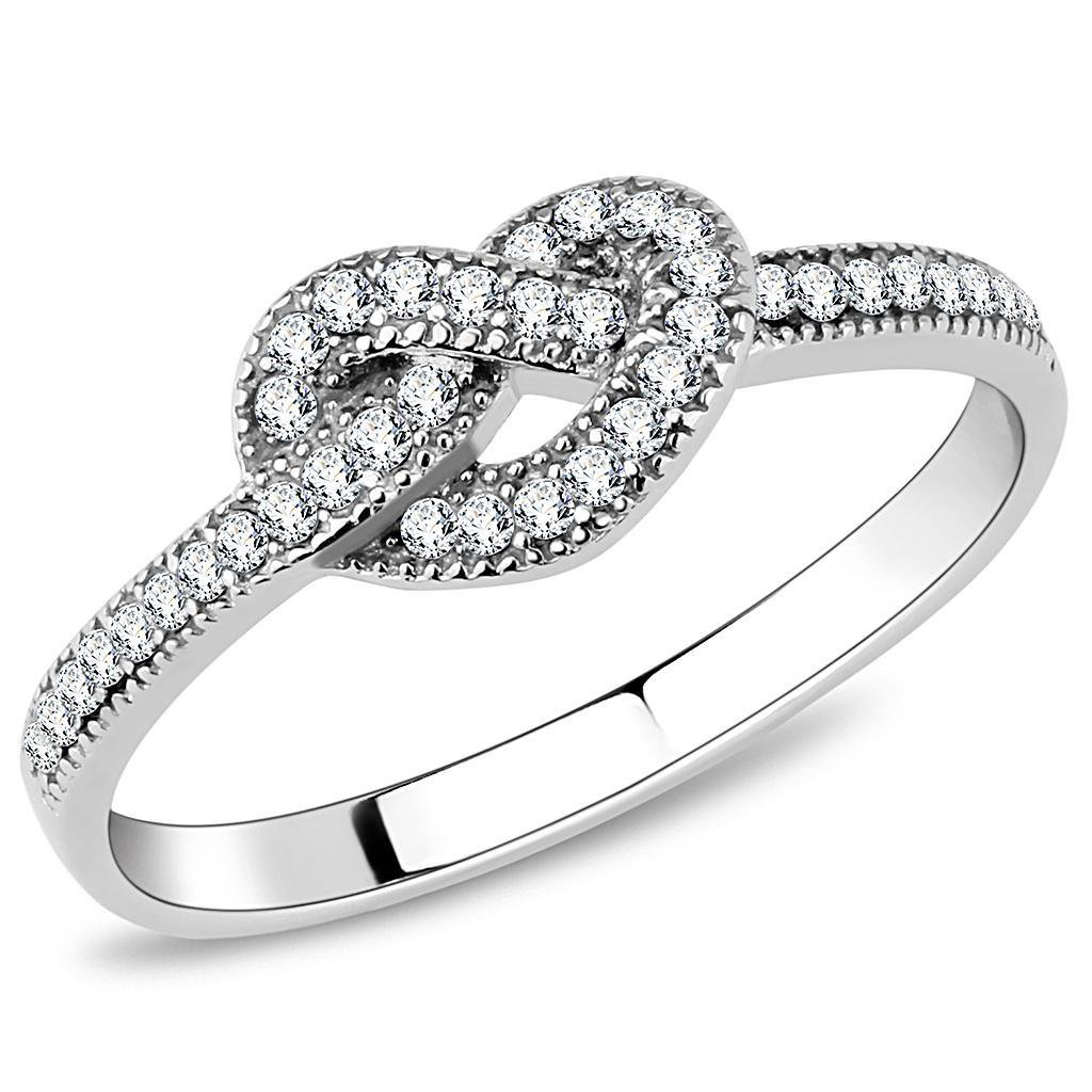 DA053 High polished Stainless Steel Ring AAA Grade CZ Davano Collection