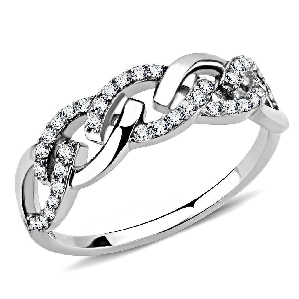 DA163 High polished Stainless Steel Ring CZ Davano Collection=m[