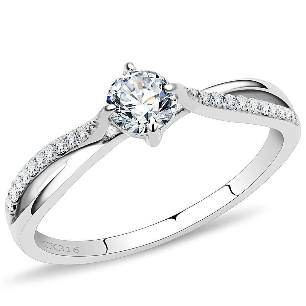 DA035 High polished Stainless Steel Ring AAA Grade CZ Davano Collection