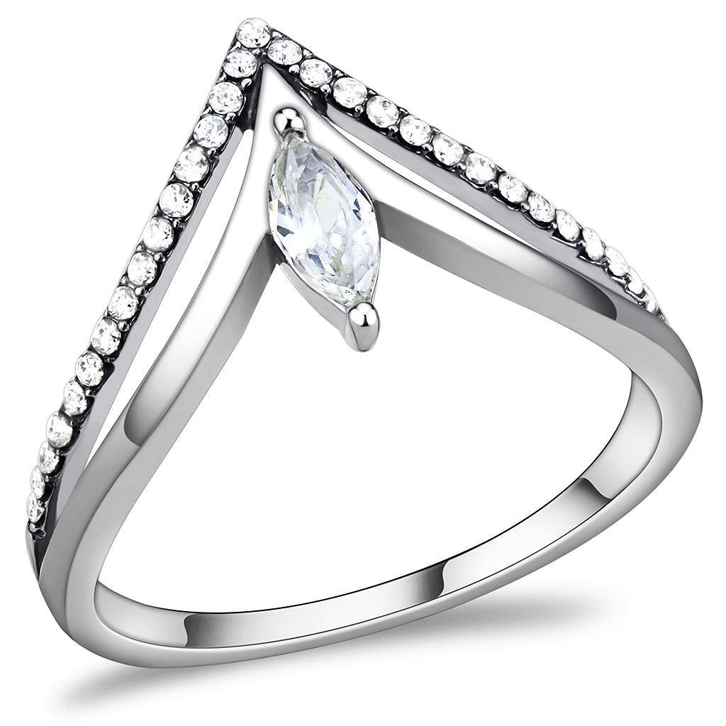 DA109 High polished Stainless Steel Marquise Cut Ring AAA Grade CZ Davano Collection